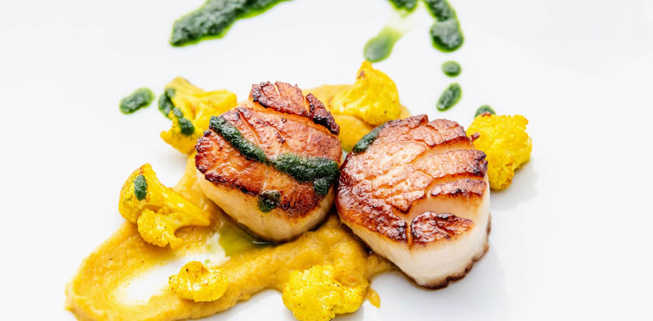 Scallops with cauliflower puree