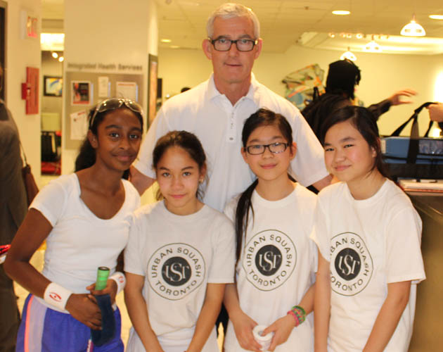 Clive with Urban Squash Toronto kids
