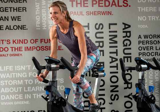 Meg on a stationary bike at the Adelaide Club