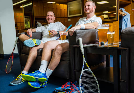 Member and Squash Pro - Tyler - relaxing with beer